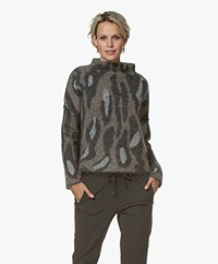 Woman by Earn Martine Jacquard Funnelneck Sweater - Dark Grey