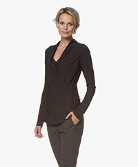 Woman by Earn Flore Draped Tech Jersey Longsleeve - Black