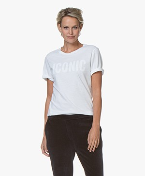Majestic Filatures Cotton T-shirt with Print - White