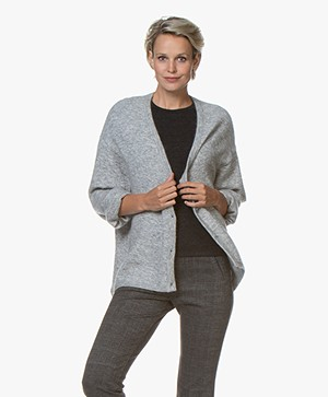 Marie Sixtine Elsa Mohair Blend Button-through Cardigan - Cloud Chine