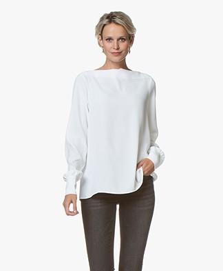 Woman by Earn Lilian Boat Neck Blouse - Off-white