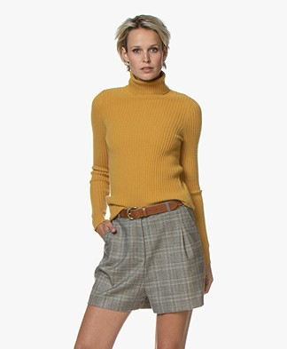 Repeat Pure Cashmere Rib Turtleneck Pullover - Curry