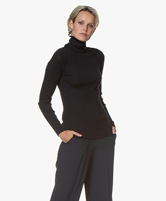 no man's land Pure Wool Rib Turtleneck - Dark Sapphire