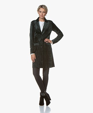 Woman by Earn Cato Long Velvet Blazer Cardigan - Dark Green