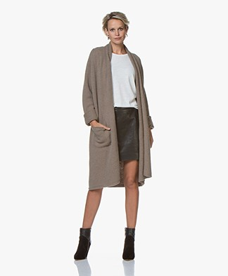 Drykorn Flava Long Open Cardigan - Taupe