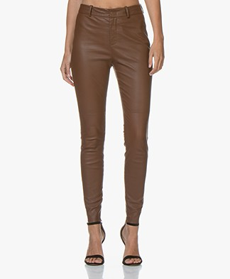 Drykorn Winch Skinny Leather Pants - Brown