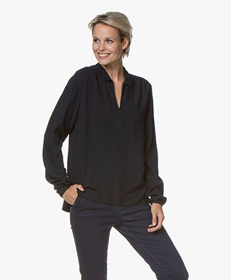 by-bar Aafke Split Neck Blouse - Midnight