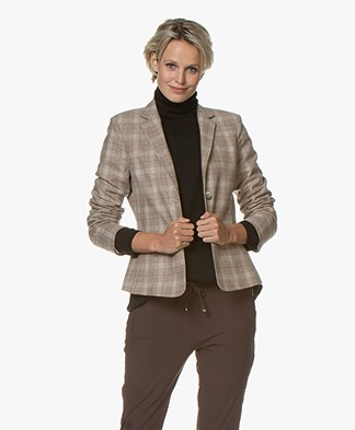 LaSalle Checkered Wool Blend Blazer - Beige
