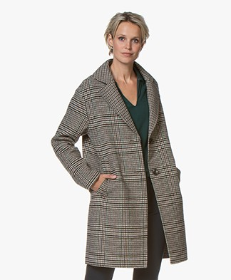 MKT Studio Maryline Checkered Wool Blend Coat - Beige