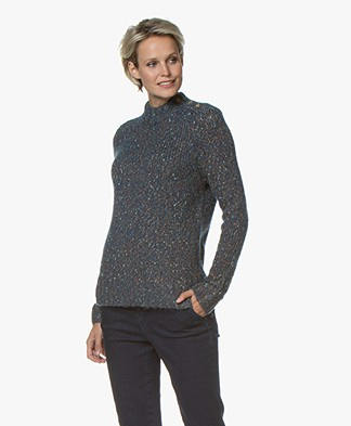 indi & cold Wool Blend Sweater with Buttoning - Oceano