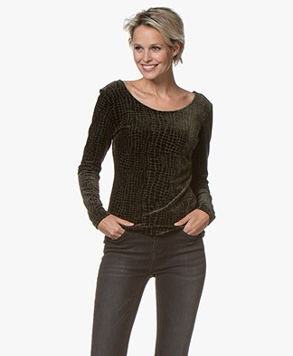 no man's land Croco Velvet Long Sleeve - Extra Dark Moss