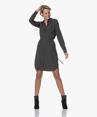 no man's land Travel Jersey Shirt Dress - Soft Charcoal