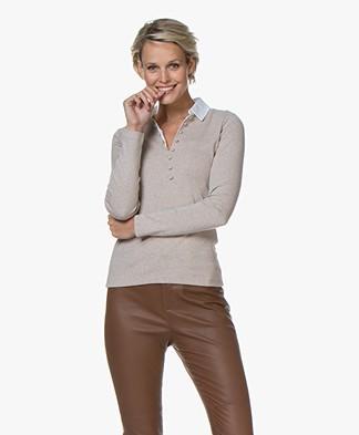 Belluna Laviani Jersey Longsleeve with Collar - Light Beige Melange