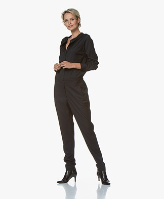 by-bar Vanz Viscose Blend Twill Jumpsuit - Dark Navy