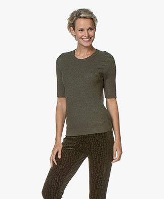 Repeat Half Sleeve Cotton Blend Rib Pullover - Forest
