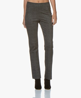 no man's land Checkered Flared Jersey Pants - Charcoal