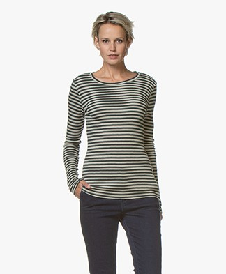 by-bar Lux Striped Wool Blend Long Sleeve - Stone Silver