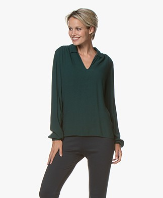 by-bar Aafke Split Neck Blouse - Dark Green