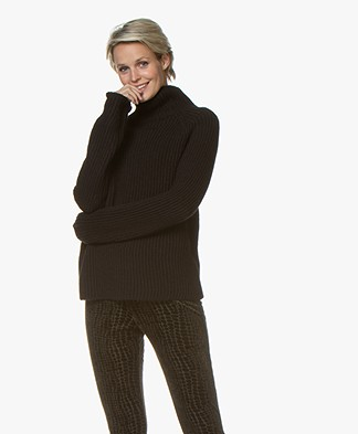 Drykorn Arwen Rib Knit Turtleneck Sweater - Black