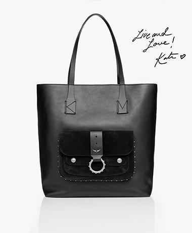 Zadig & Voltaire Kate Leren Shopper - Zwart