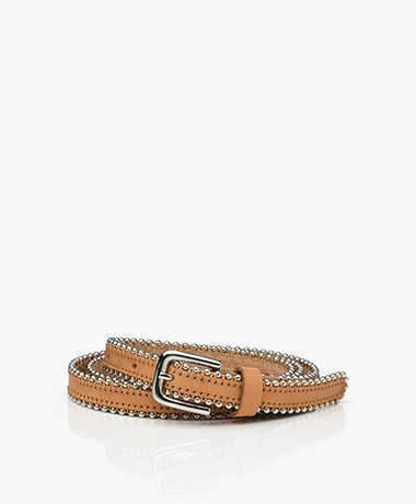 Drykorn Bead Narrow Leather Belt - Camel