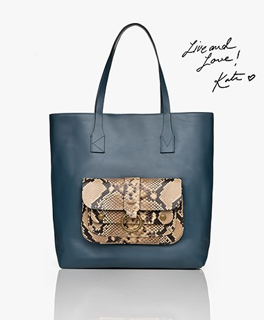Zadig & Voltaire Kate Leren Shopper - Blue Desert