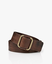 ba&sh Boxane Leather Belt - Dark Brown
