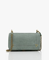 Jerome Dreyfuss Bobi Schouder/Cross-body Tas in Nubuck Kalfsleer - Croco Lichen