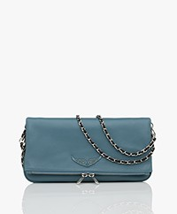 Zadig & Voltaire Rock Leather Shoulder Bag/Clutch - Acier