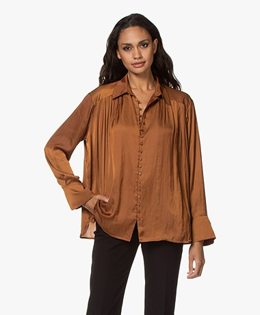 Zadig & Voltaire Trent Satin Blouse - Ocre