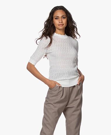 Plein Publique La Brioche Merino Ajour Sweater - Ivory
