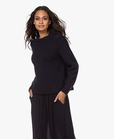 Pomandère Alpaca Blend Knitted Sweater - Navy