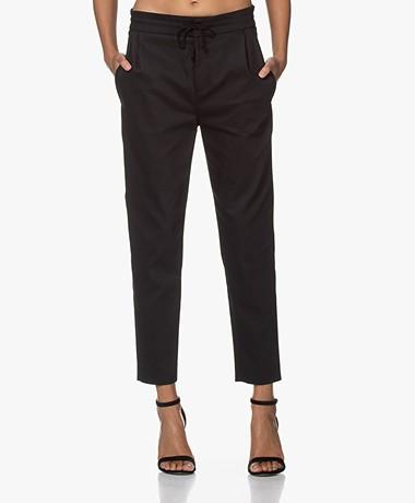 Drykorn Level Stretch Katoenen Pantalon - Zwart