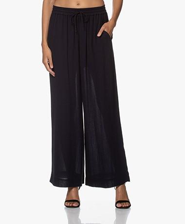 Pomandère Twill Wide Leg Pants - Dark Blue/Black