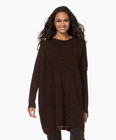 Woman by Earn Loulou Long Mohair Blend Sweater - Dark Brown