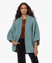I Love Mr Mittens T Cropped Sleeve Open Cardigan - Greyish Blue