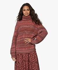Repeat Chunky Knit Dégradé Turtleneck Sweater - Terracotta