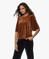 by-bar Bibi Velvet Jersey T-shirt - Cognac