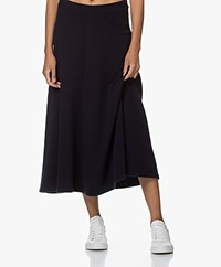 Closed Knitted Italian Wool Skirt - Dark Night