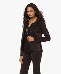 no man's land Jersey Lurex Blazer - Double Espresso