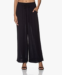 Pomandère Twill Wide Leg Pants - Dark Blue/Black