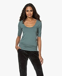 Majestic Filatures Soft Touch Jersey T-shirt with Half-length Sleeves - Tuscan Green
