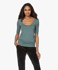 Majestic Filatures Soft Jersey T-shirt met Halflange Mouwen - Toscaans Groen