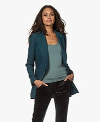 LaDress Juliette Belted Crepe Blazer - Dark Emerald