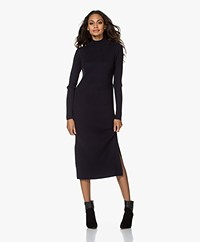 Repeat Knitted Ribbed Cotton Blend Midi Dress - Navy