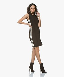 61d5f437836c5 ... Norma Kamali Side Stripe Sleeveless Swing Dress - Black/Off-white