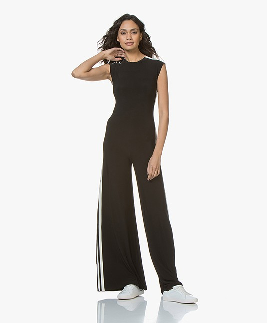 06f11158ee9 Norma Kamali Side Stripe Sleeveless Travel Jersey Jumpsuit - Black Off-white  Stripe - sleeveless jumpsuit  engineerd stripe kk128jpl304073