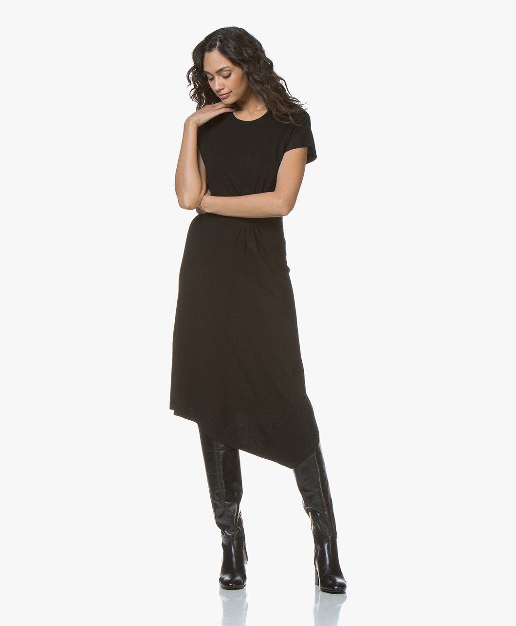 21faef251ff By Malene Birger Sketsy Twill Jersey Midi Dress - Black - q66160009 |  sketsy 050