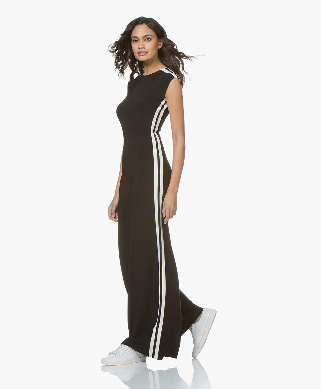 8aa5fd1c11d4 Norma Kamali Side Stripe Sleeveless Travel Jersey Jumpsuit - Black Off-white  Stripe - Norma Kamali
