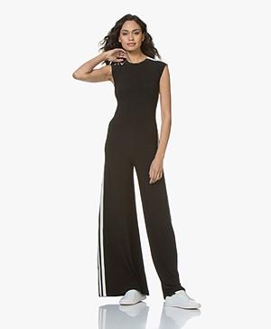 Norma Kamali Side Stripe Sleeveless Travel Jersey Jumpsuit - Black/Off-white Stripe